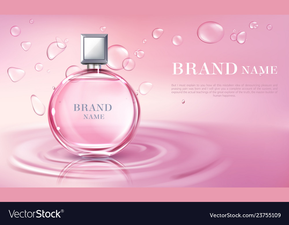 3d realistic perfume bottle ad poster