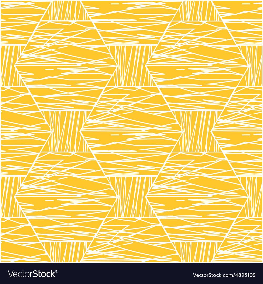 Abstract white orange linear hexagonal pattern