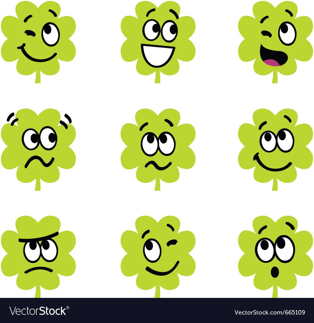 Cartoon four leaf clovers