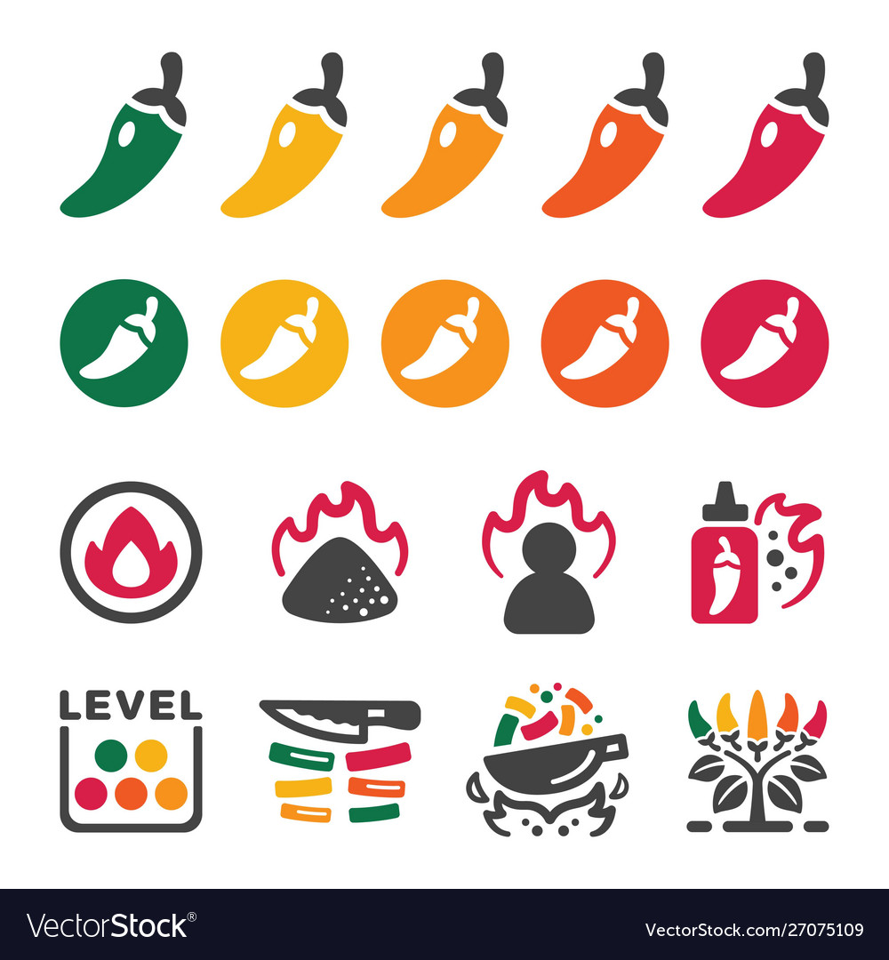 Chili icon set