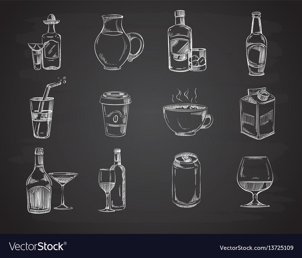 Doodle drinks wine beer bottles hand drawn