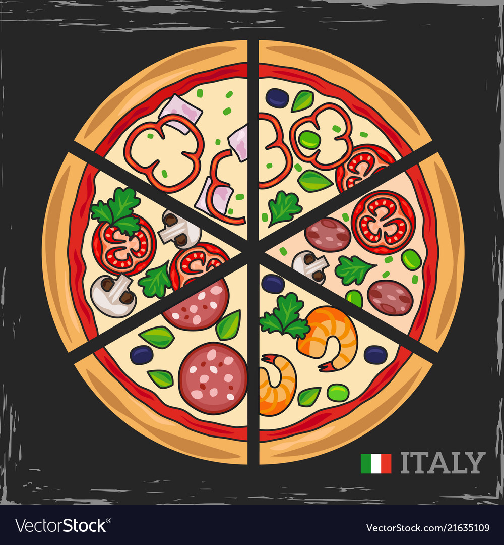 Italian pizza on grunge backdrop