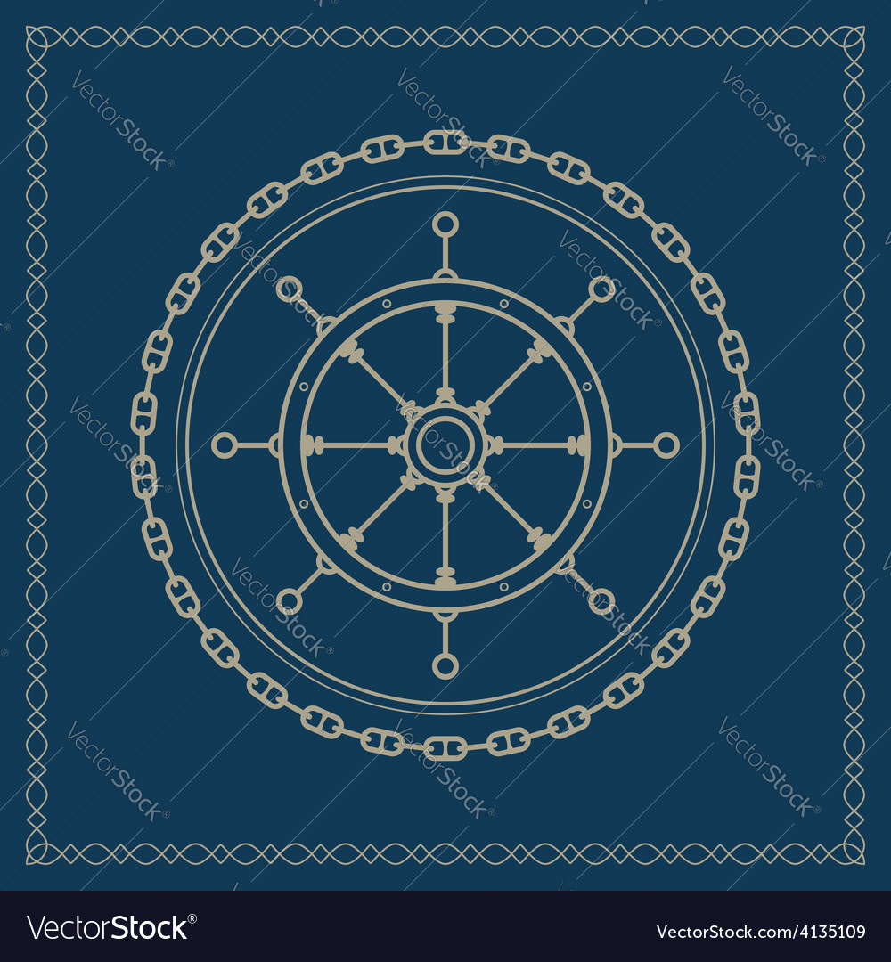 Marine emblem with ships wheel vector image
