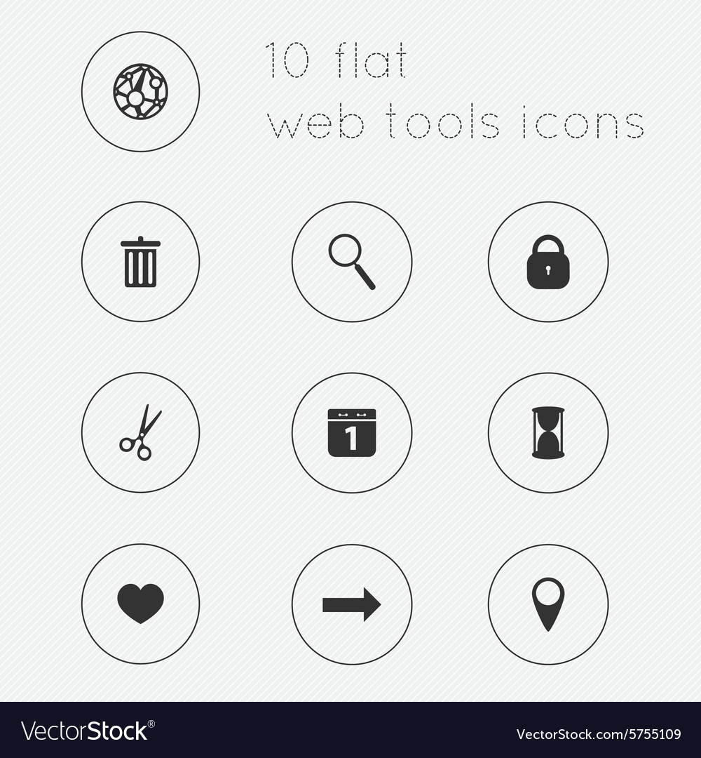 Modern flat icons collection of web tools theme
