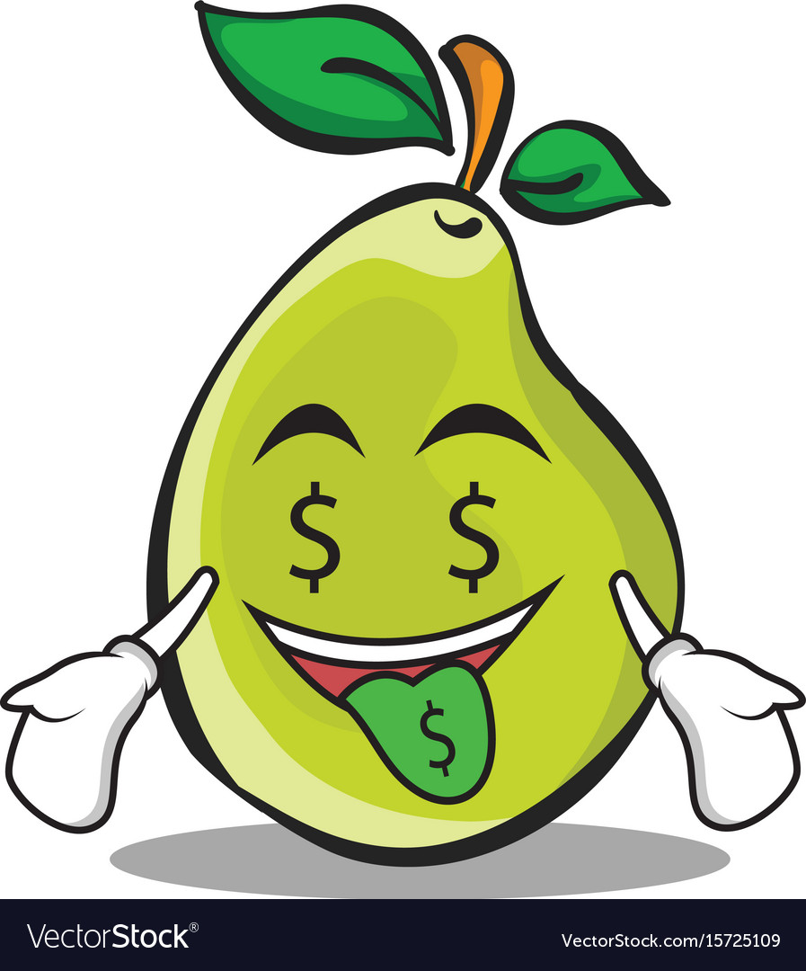 Money mouth pear character cartoon