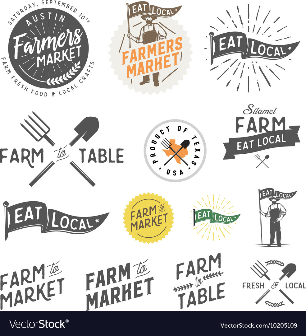 vintage farm logos and design elements royalty free vector