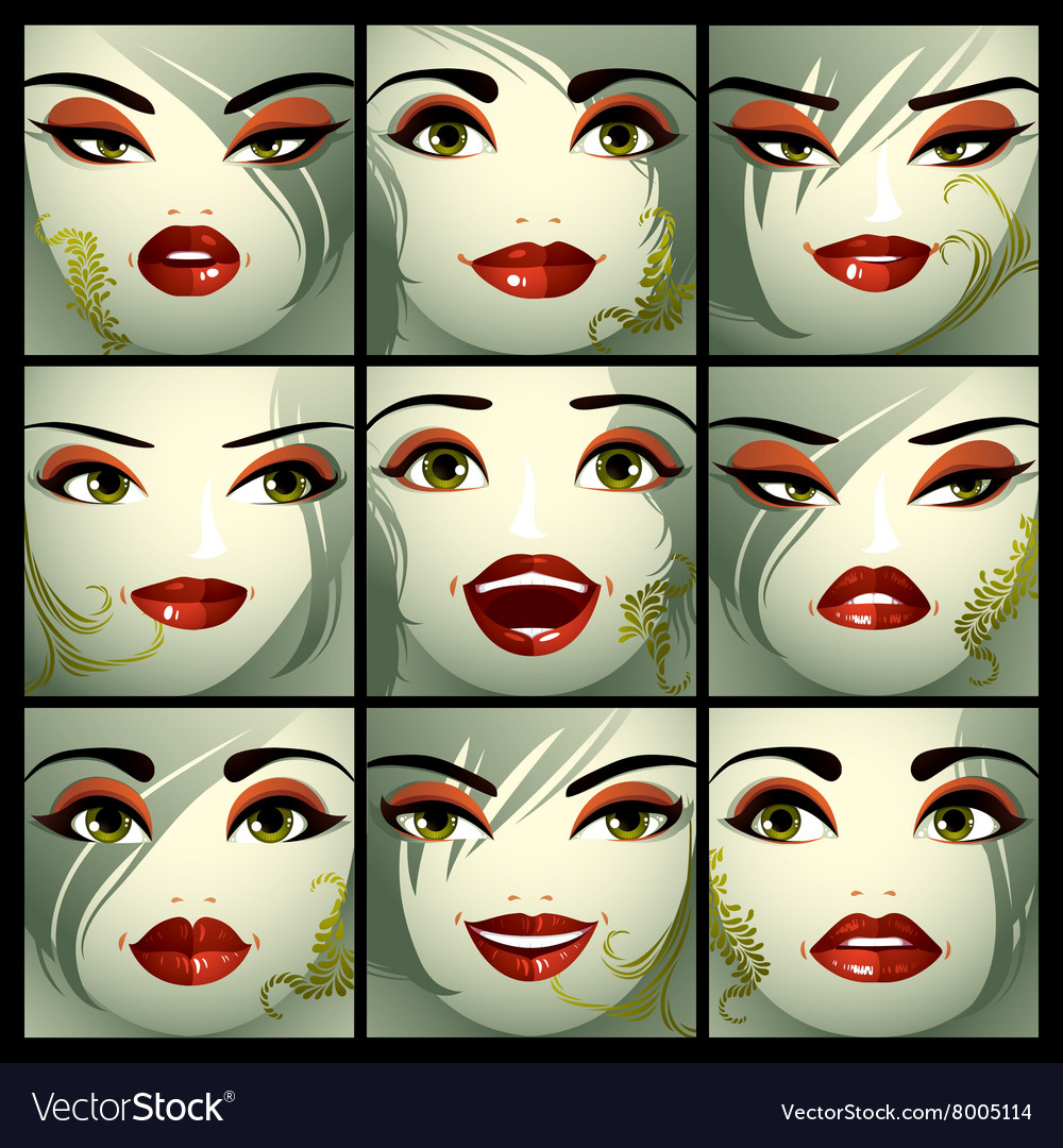 Attractive ladies portraits collection girls with vector image
