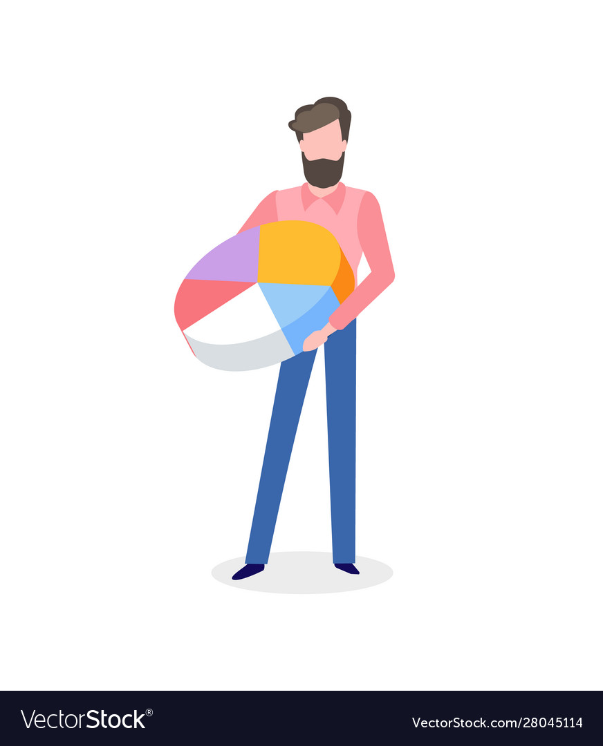 Bearded man with pie graph in hand isolated