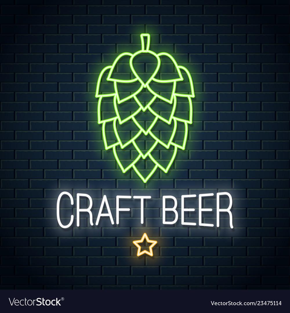 Beer hop neon logo craft beer neon sign on wall