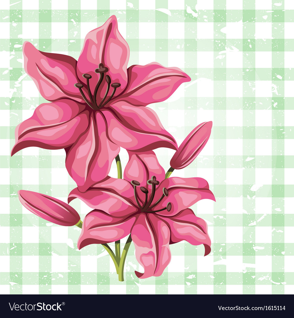Detailed lily flower in vintage style