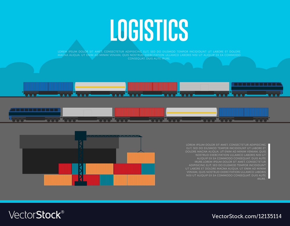 Logistics banner with freight train