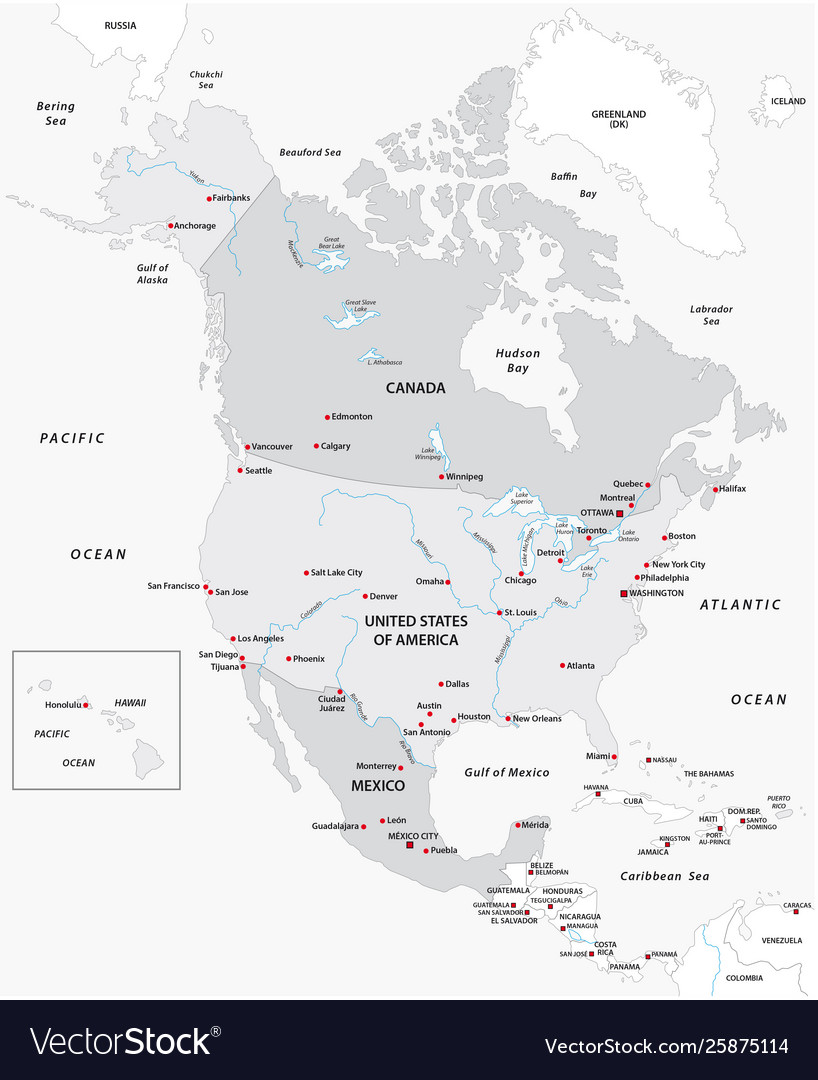 Map North America In Black And White