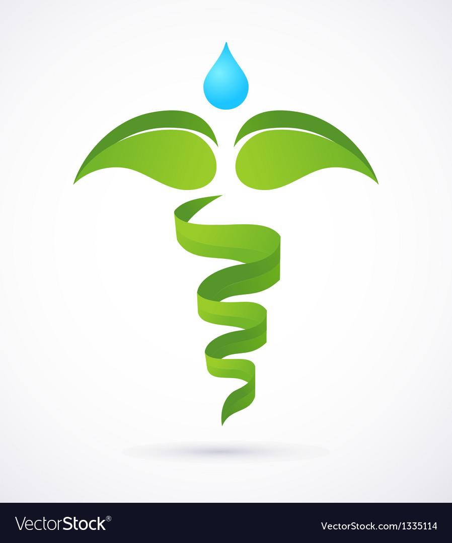 Medical caduceus - alternative medicine green and