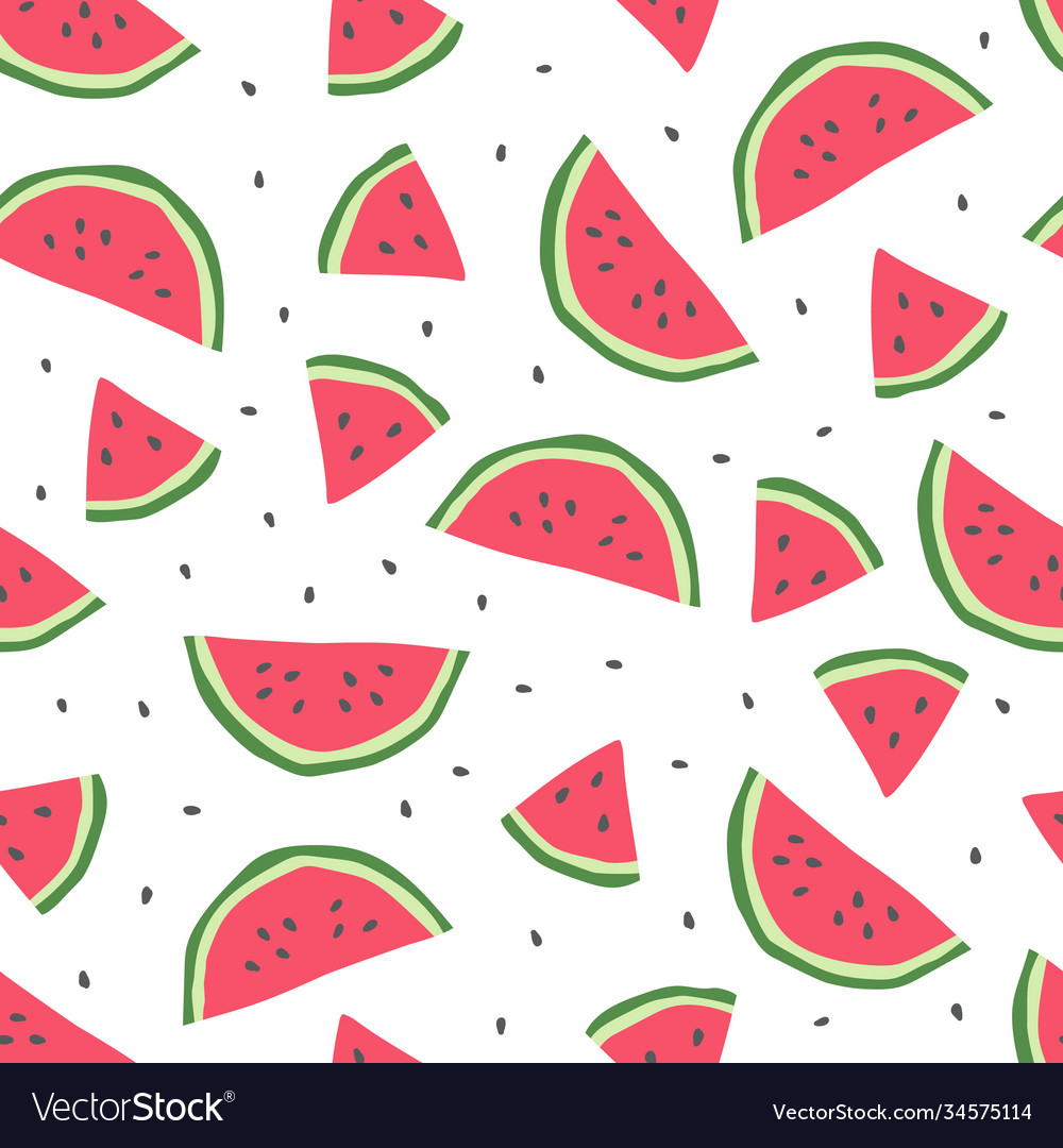 Seamless pattern with cute watermelon
