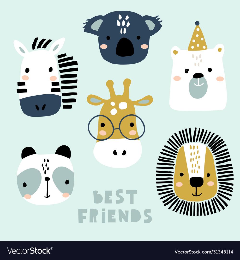 Set cute animal faces creative animal print