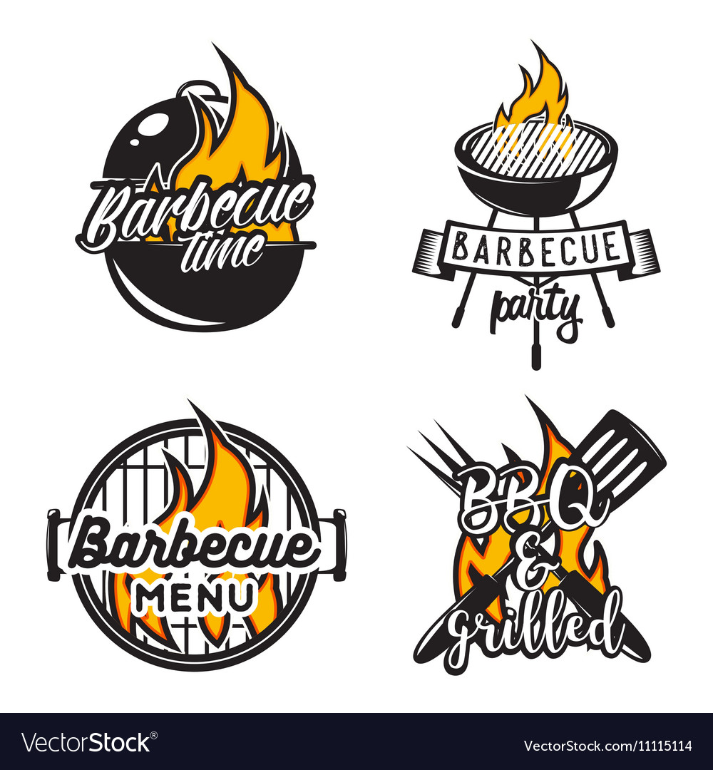 Set of barbecue labels Creative
