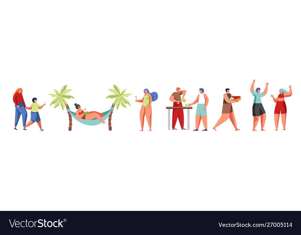 Summer beach people flat isolated