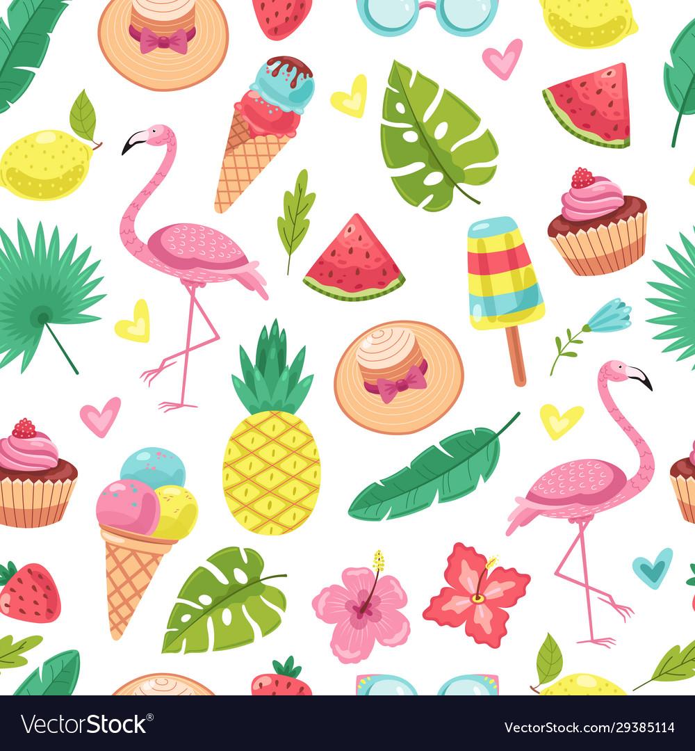 Summer seamless pattern tropical flamingo ice