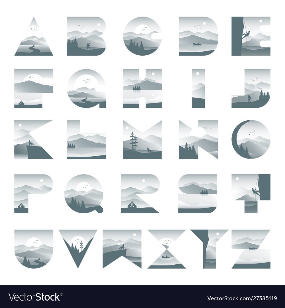 Alphabet landscape with silhouette mountain
