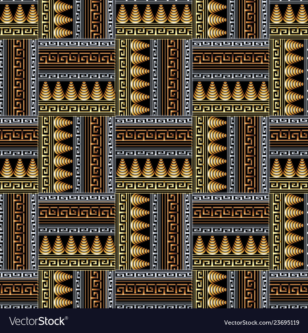 Ancient greek braided 3d seamless pattern ornate