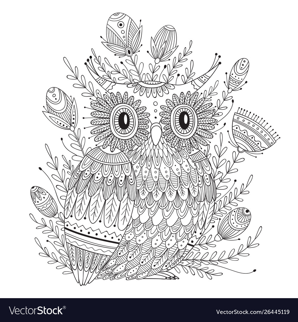Beautiful detailed coloring page with bird