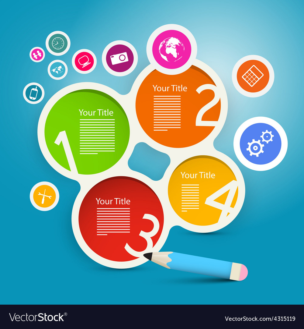 Four Steps Circle Infographics Layout with