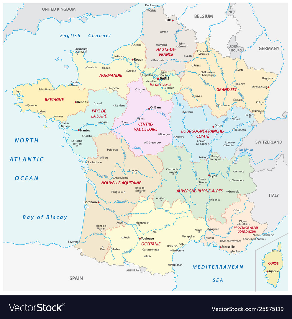 Map Of Regions Of France.France Administrative Map With New Regions