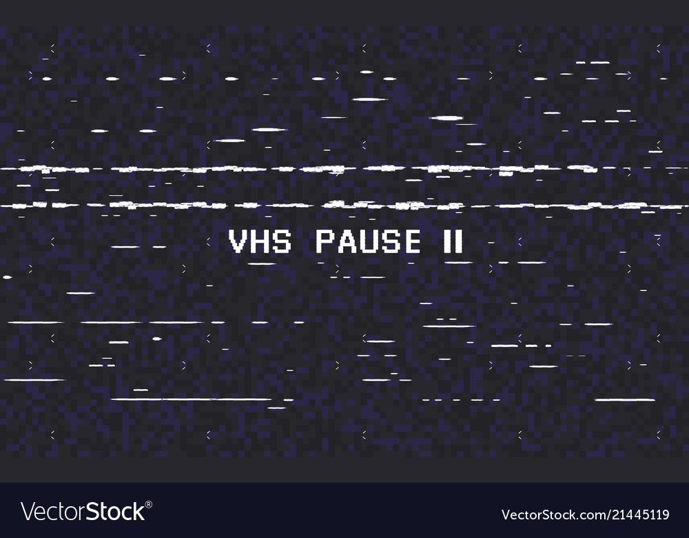 Glitch vhs on black background old tape effect