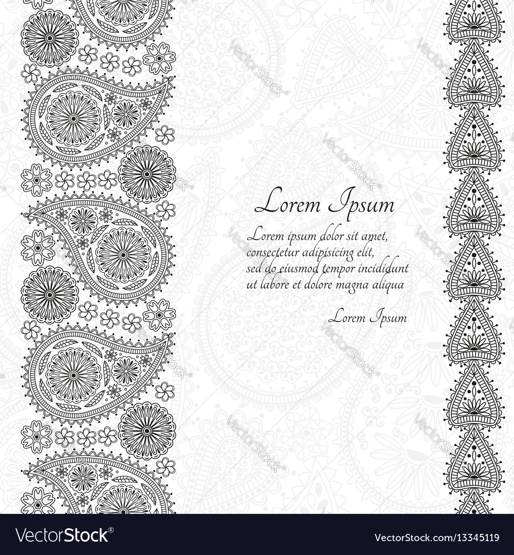 Greeting card or template with paisley ornament