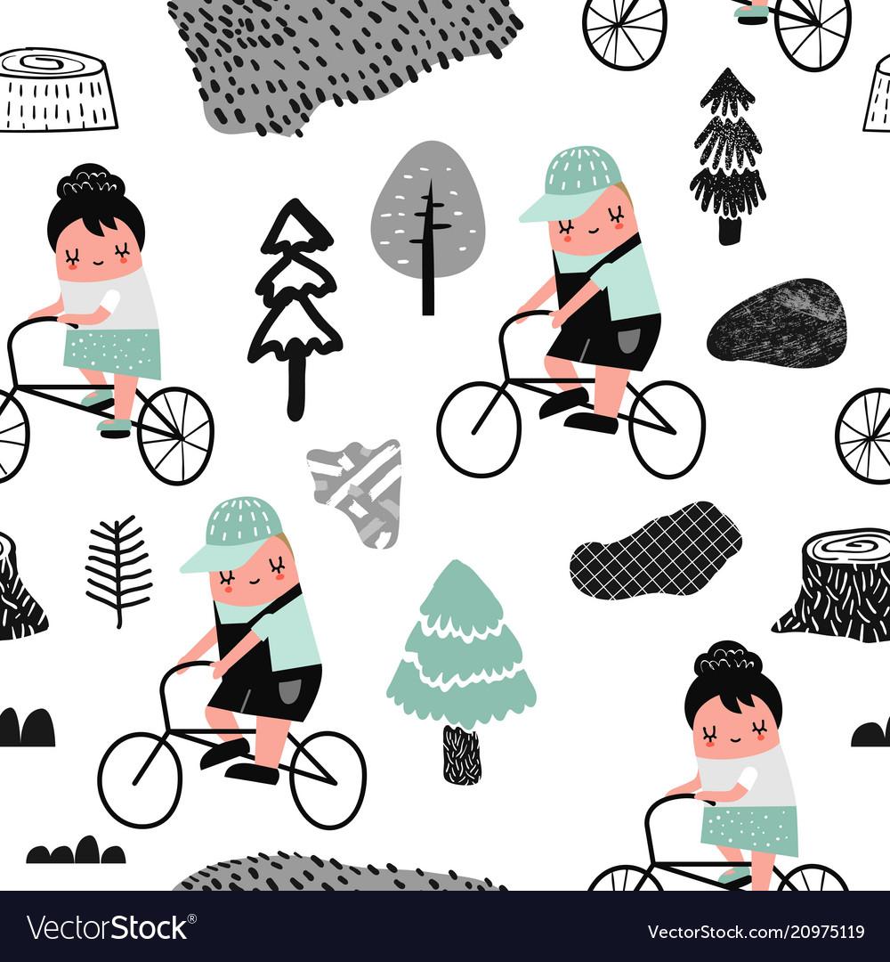 Kids on bicycle seamless pattern creative childish