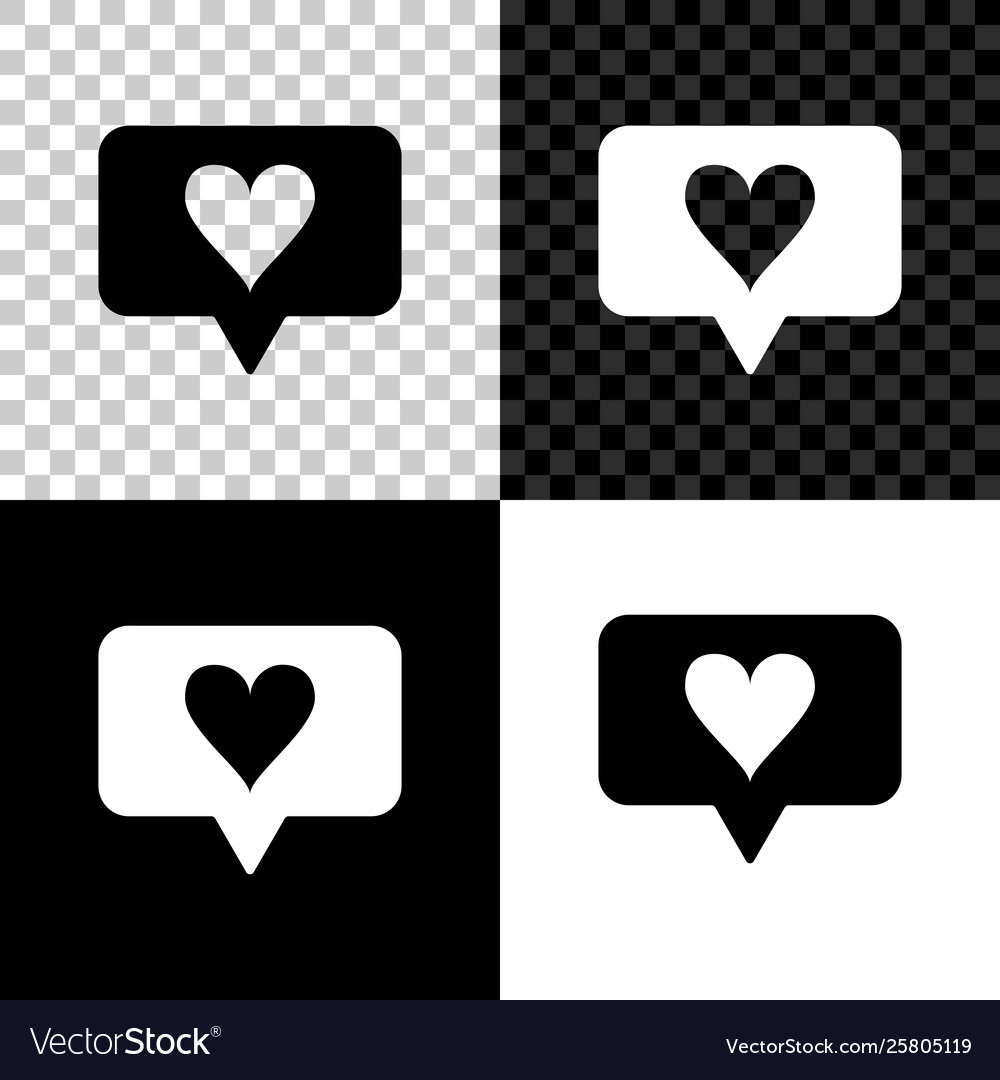Like and heart icon isolated on black white and