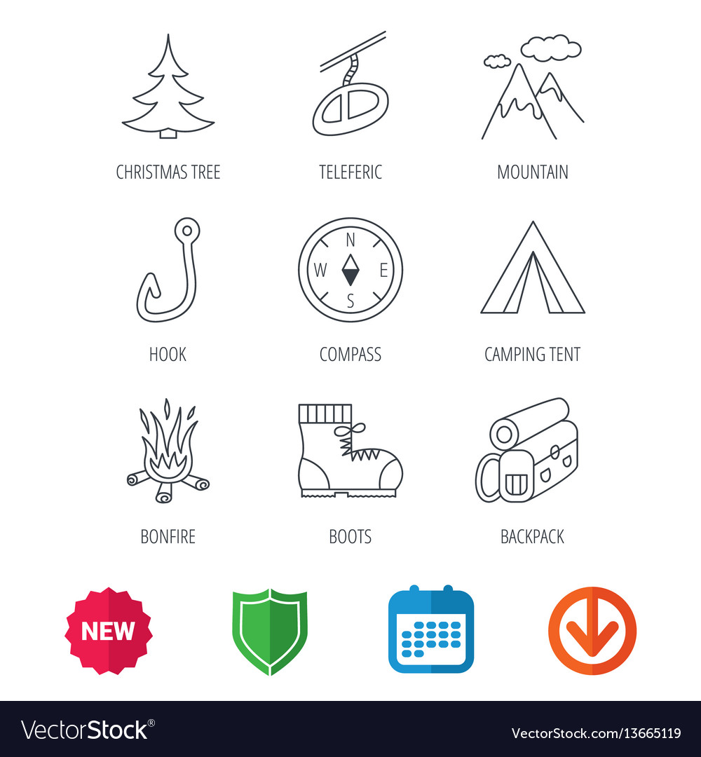 Mountain fishing hook and hiking boots icons