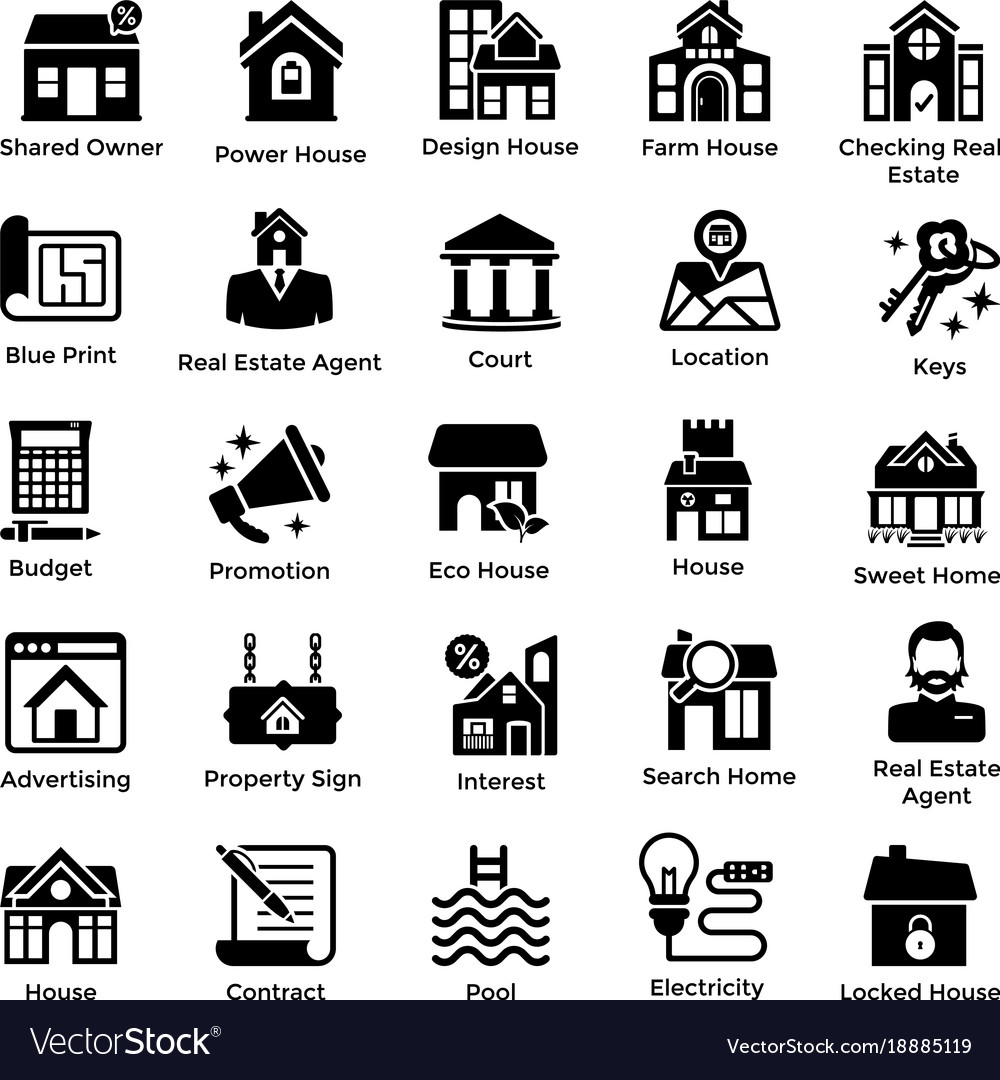 Real estate glyph icons 1