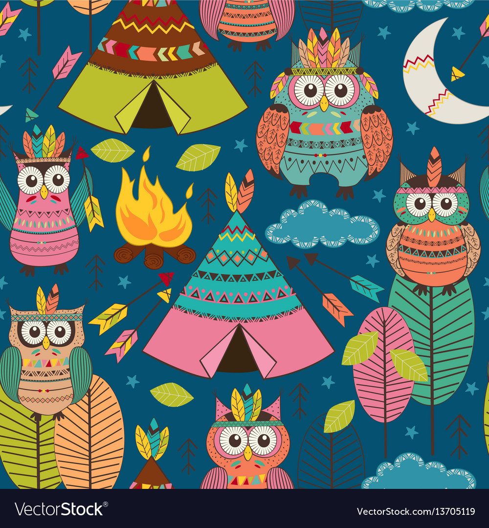 Seamless pattern with tribal owls night