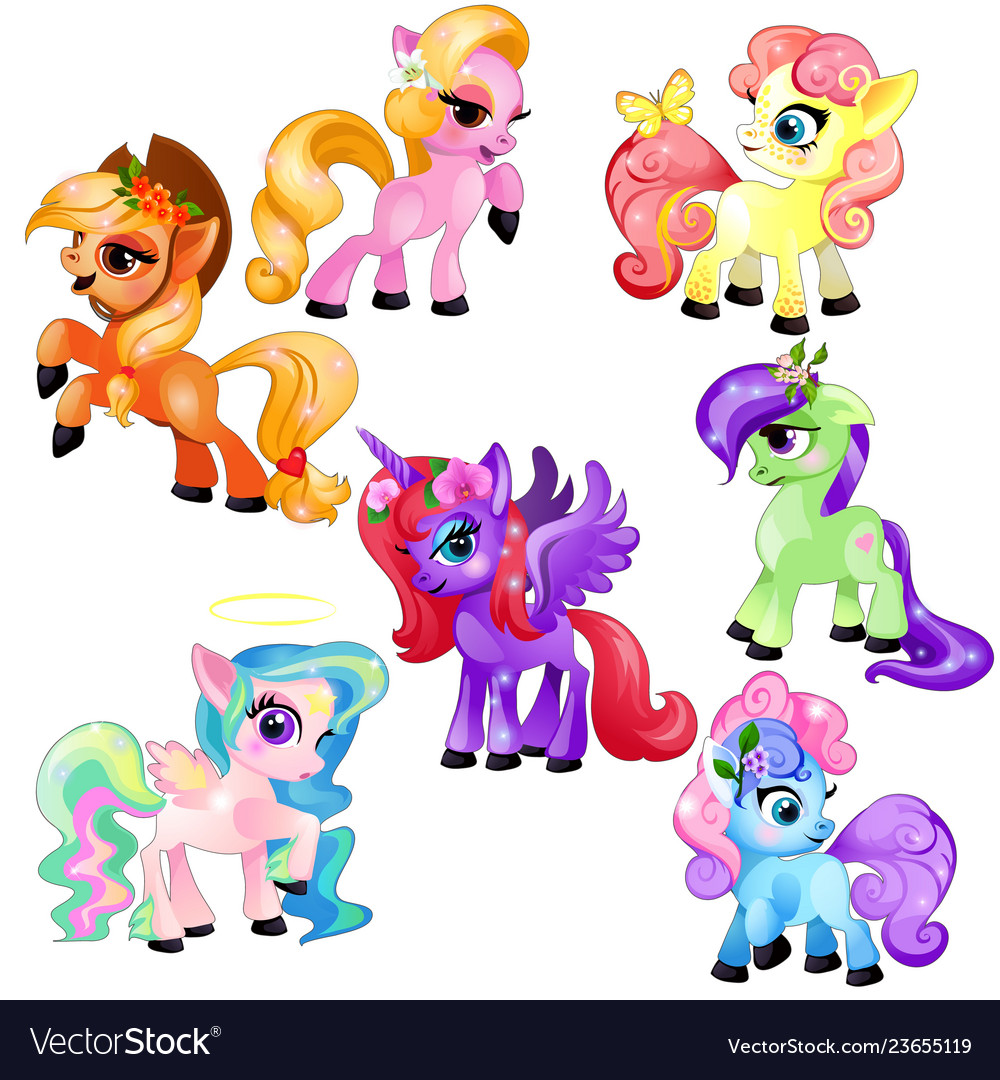 Set of colorful little cute ponies and unicorn