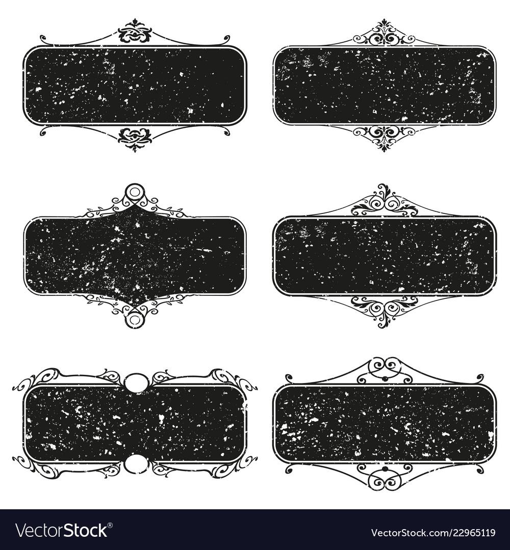 Set of decorative florish grunge frames