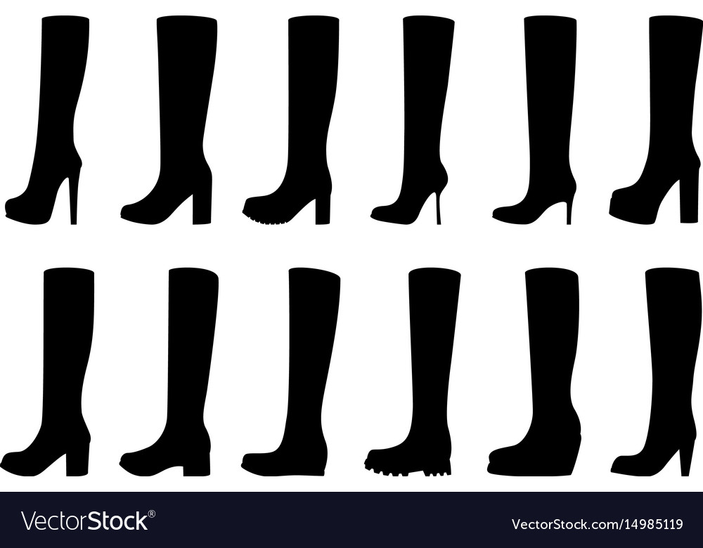 Set of silhouettes of boots