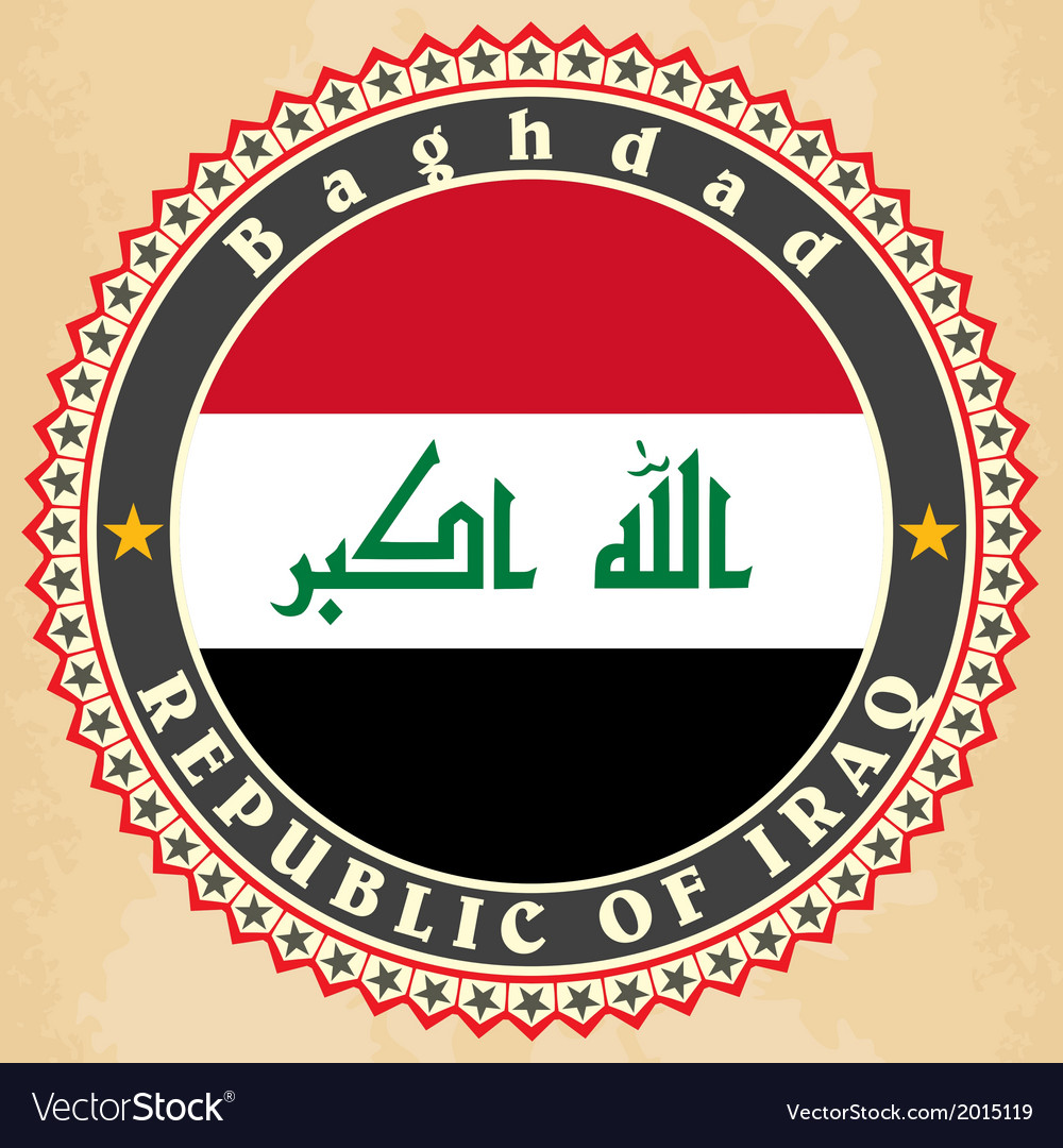 Vintage label cards of Iraq flag