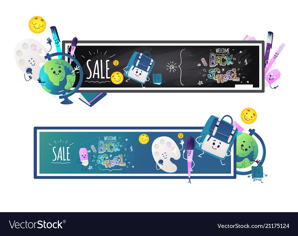 Back to school sale horizontal banners set with