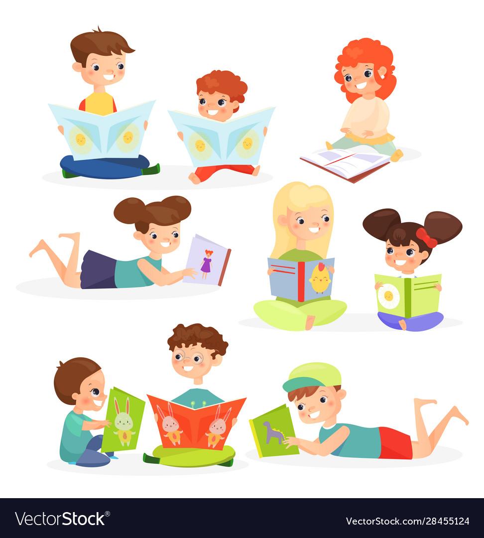 Children reading books flat
