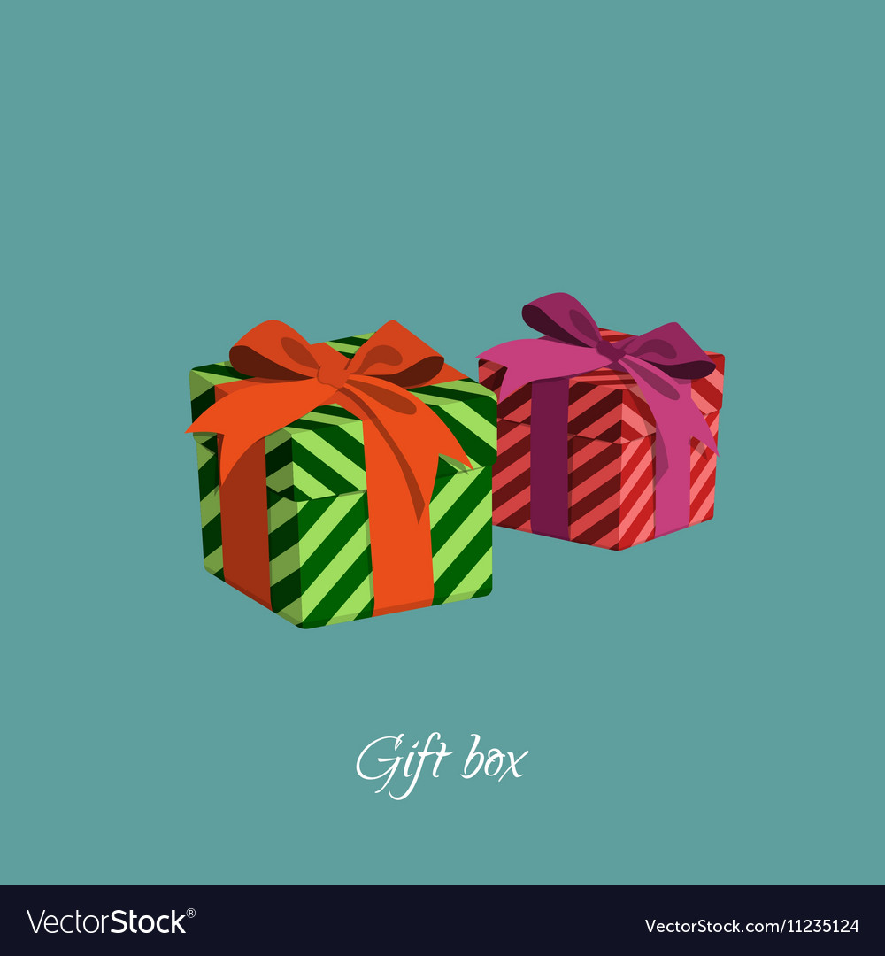 Gift box with strips in a cartoon style