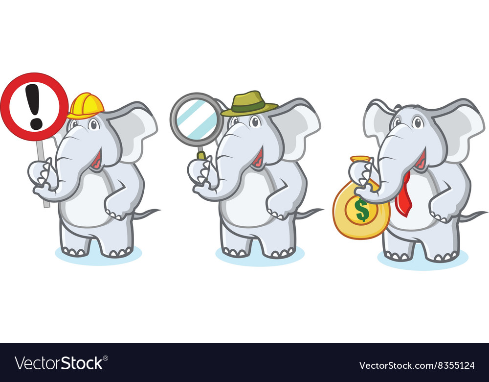 Gray Elephant Mascot with money vector image