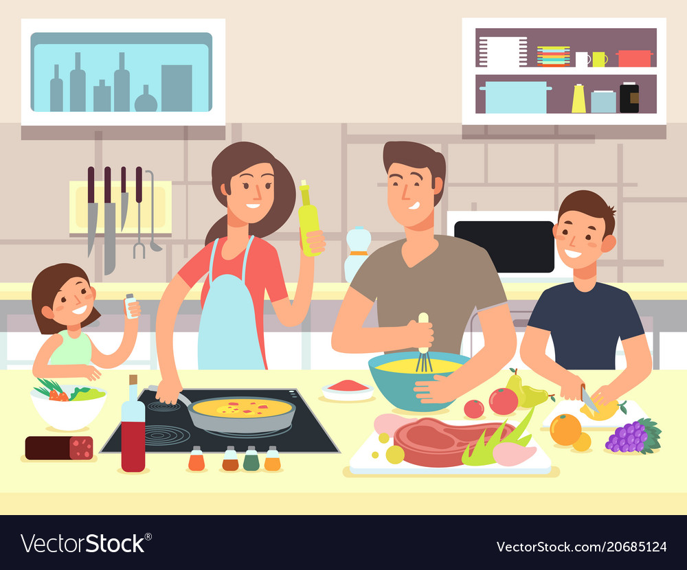 Happy family cooking mother and father with kids