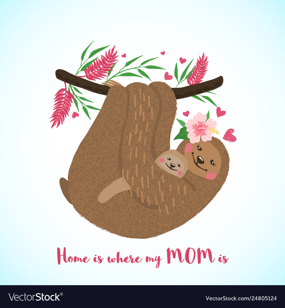 Happy mothers day card with cute sloths