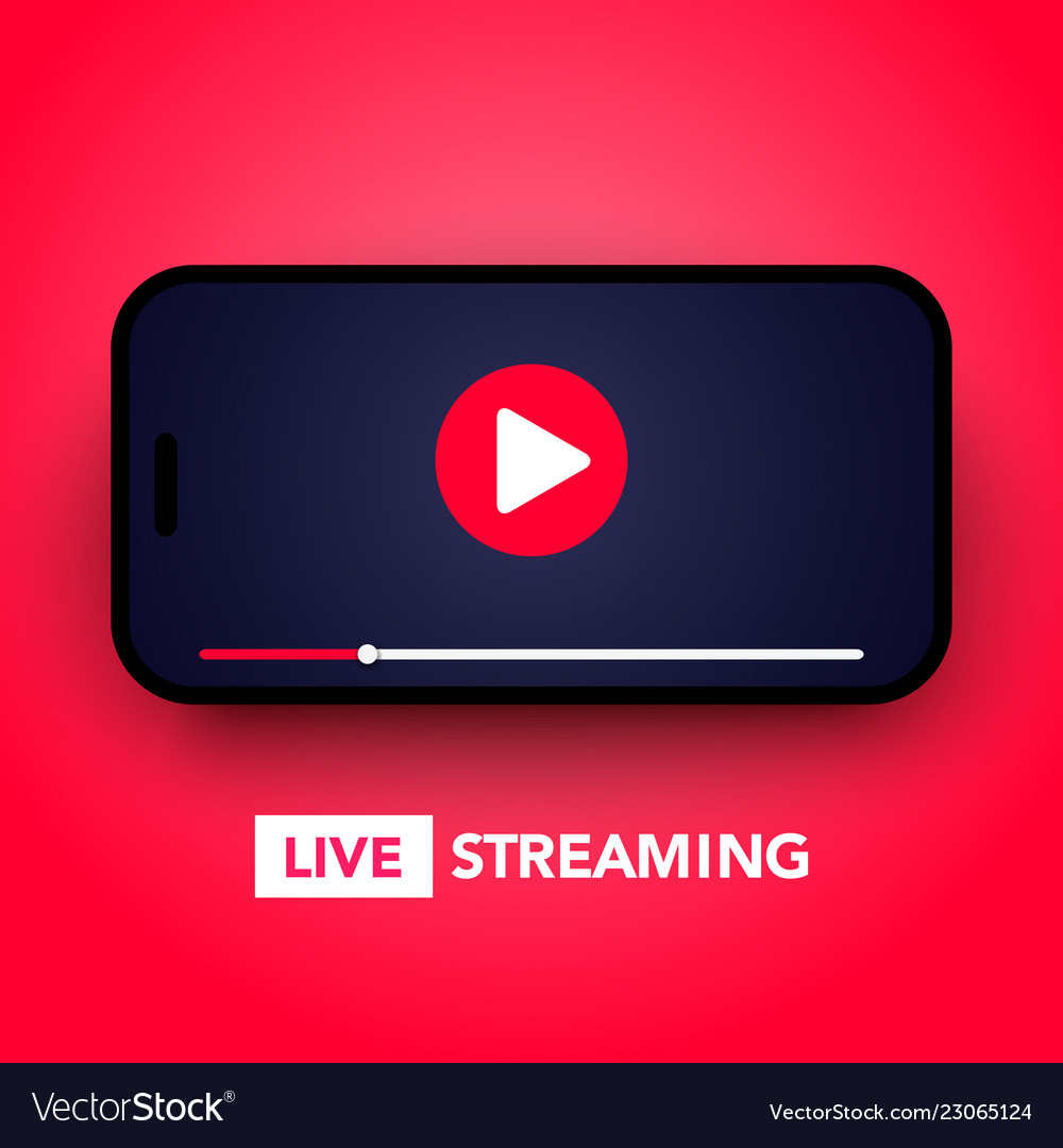 Live stream concept with play button on smartphone