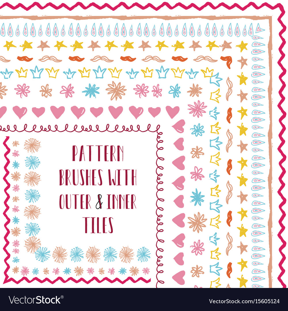 Pattern brushes with outer and inner corner