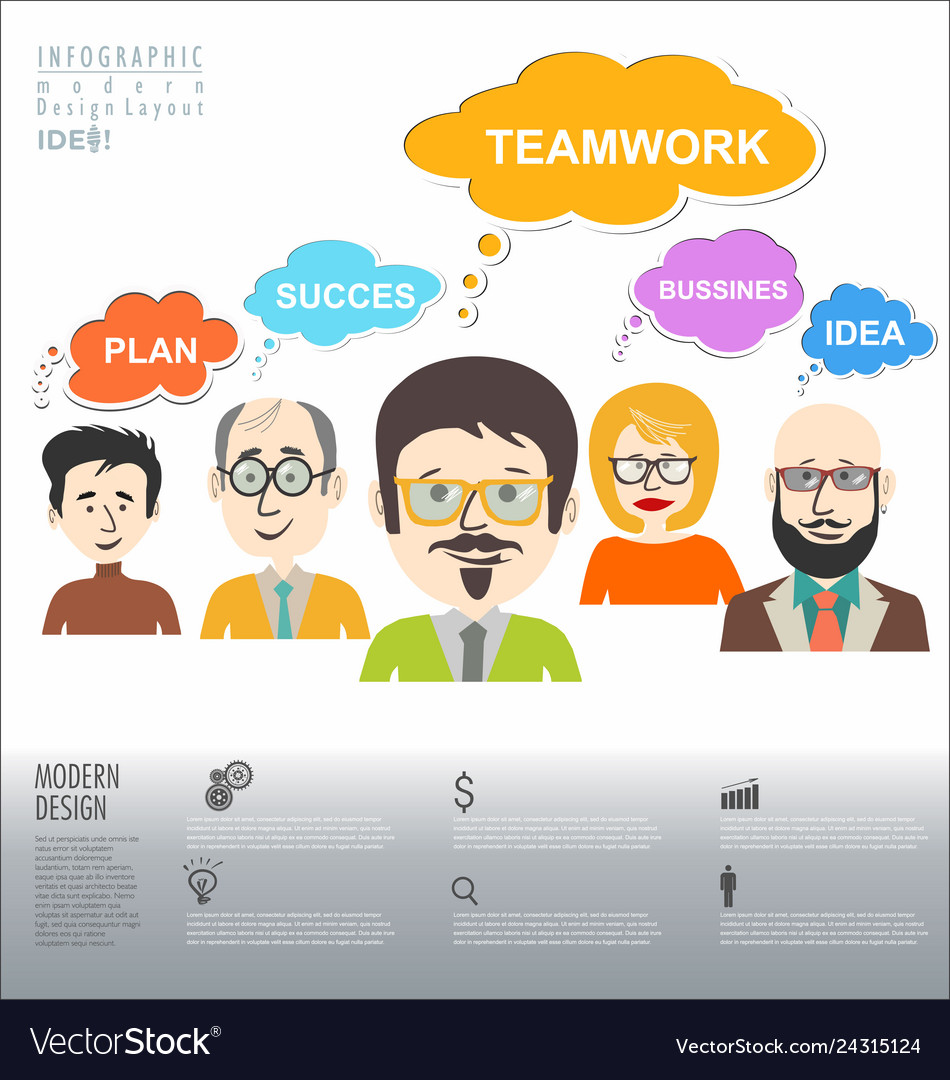 People with speech bubbles teamwork banner and