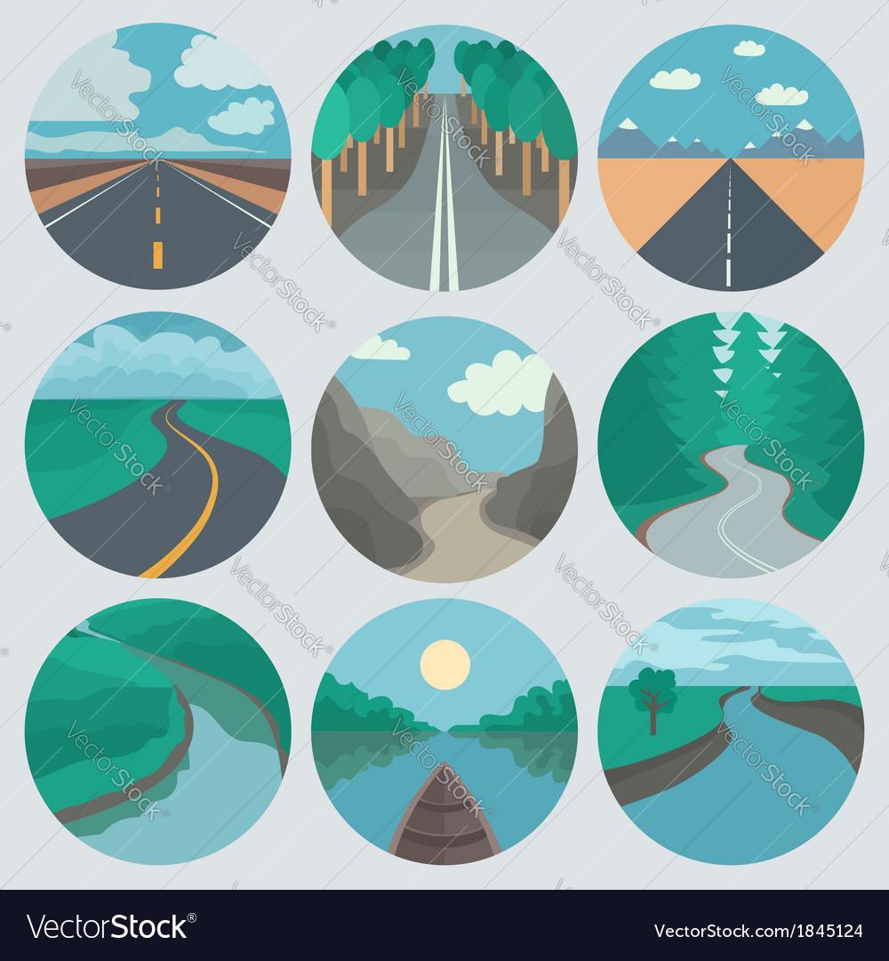 Travel Icons Set Landscapes