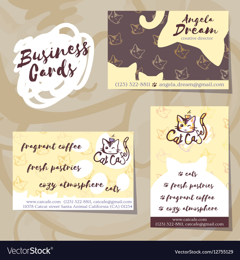Business Cards for Cat Cafe vector image