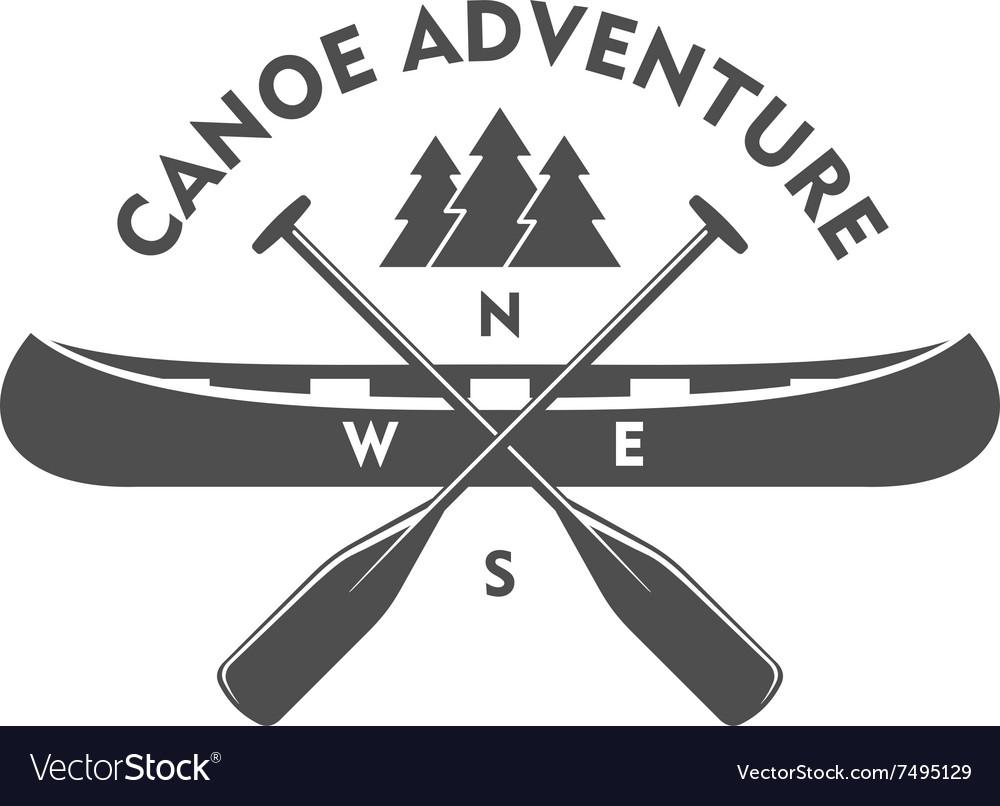 Canoe Aadventure Badge Design Element vector image